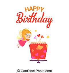 Fairy girl with birthday cake