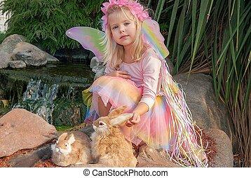 fairy girl with rabbits - cute blond fairy girl with bunnies...