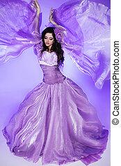 fairy., gyönyörű, leány, alatt, fújás, dress., mód, művészet, fénykép