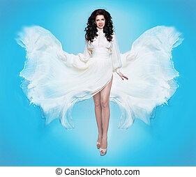 fairy., gyönyörű, leány, alatt, fújás, ruha, flying., lepke, szándék vadászterület