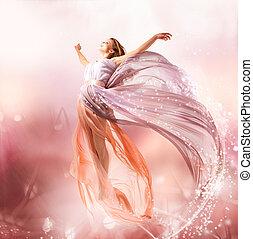 fairy., gyönyörű, leány, alatt, fújás, ruha, flying., varázslatos