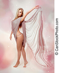 fairy., gyönyörű, szőke, leány, alatt, fújás, ruha, repülés
