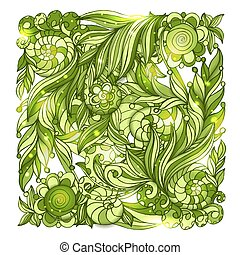 Fairy hand drawn green doodle ornament