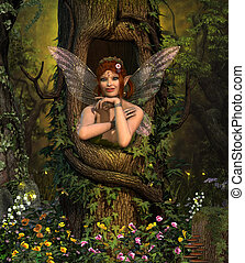 Fairy hiding place in enchanting forest