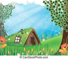 Fairy house - Fantasy house with a sod roof on a meadow with...