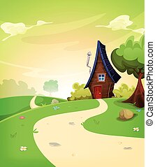 Fairy House Inside Spring Landscape