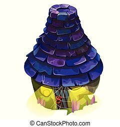 Fairy house with a blue shingle roof with glowing windows isolated on white background. Vector close-up cartoon illustration.