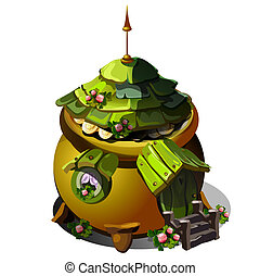 Fairy house with a roof of green wooden tiles isolated on white background. Vector cartoon close-up illustration.