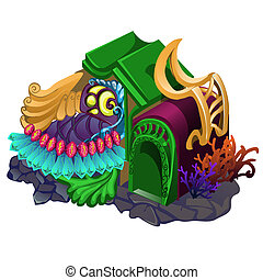 Fairy house with ornament in the form of underwater plants and inhabitants isolated on a white background. Vector illustration.