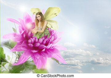 Fairy Image - A fairy plays with a ball of light whilst...