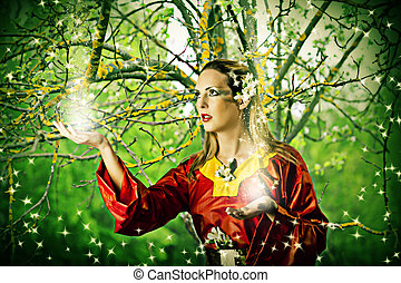 Fairy in forest - Young beautiful woman fairy in summer...