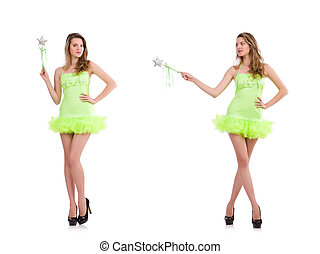 Fairy in light charming dress isolated on white