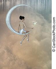 fairy in the moon