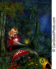 Fairy in the woods. - Fairy in the woods under the...