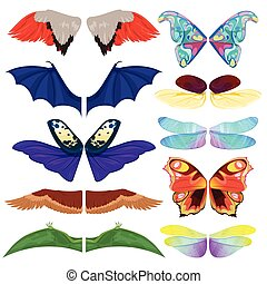 Fairy insect wings vector flying kids carnival costume winged bird bat and butterfly insects with wingspan for halloween party or Christmas isolated on a white background