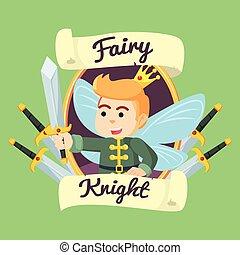 fairy knight in frame illustration