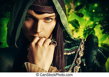 fairy legend - Noble fairy elf in the magic forest. Fantasy....