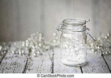 Fairy lights in a jar