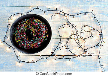Fairy Lights on Wooden Background