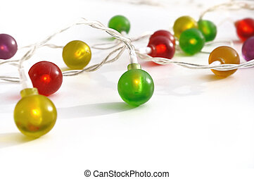 fairy lights - electric garland with colorful balls on white...