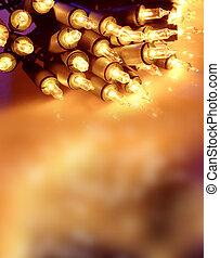 Fairy lights closeup. Copy space