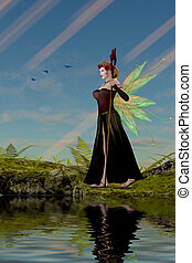 Fairy Lillith by Pond - Three Bluebirds fly over fairy...