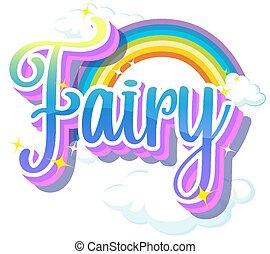Fairy logos with rainbow on white background