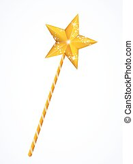 Fairy magic wand with star isolated on white background,...