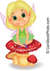 fairy, mushr, siddende, cute, cartoon