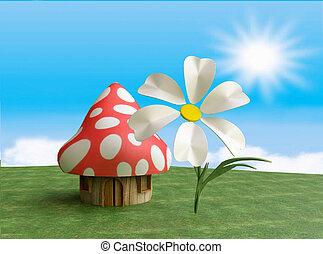 Fairy Mushroom Cottage in 3D