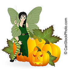 Fairy on a pumpkin - Autumn Fairy in the green dress is...