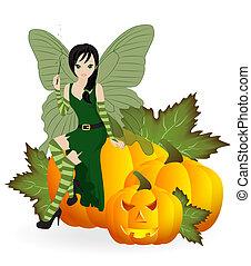 Fairy on a pumpkin