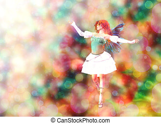 Fairy on Bokeh background - Fantasy fairy on colorful...