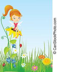 Fairy on meadow