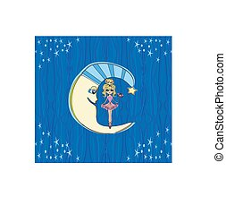 Fairy on moon at night