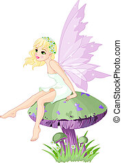 Fairy on the Mushroom - Sweet fairy elf sitting on mushroom...
