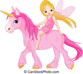 Fairy on unicorn - Cute little fairy riding on a unicorn