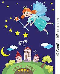 Fairy or princess - Night redhead fairy outdoor...
