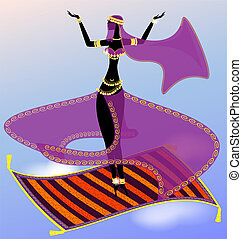 fairy oriental dancer - oriental girl dancing in the sky on...