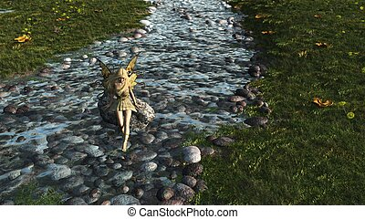Fairy paddling in a stream