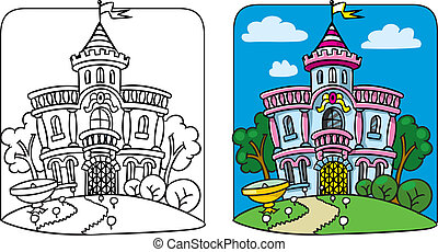 Coloring picture of fairy palace in the beautiful park. Children vector illustration