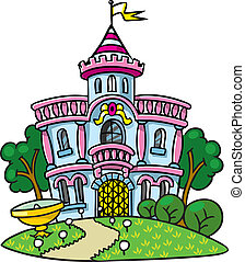 Fairy palace in the beautiful park. - Children vector...