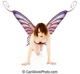Fairy - Beautiful fairy girl crawling.