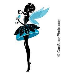 fairy, pige, klæde, herskabelig
