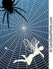 Fairy prey - Editable vector illustration of a fairy caught ...