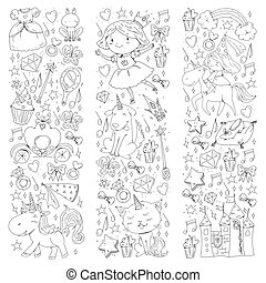 Fairy princess and magical unicorns. Vector pattern with magic cats, horses, dogs.