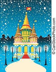 fairy princess castle at night during snowfall