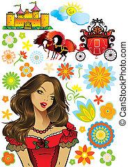 Fairy princess collection. Vector art-illustration on a ...