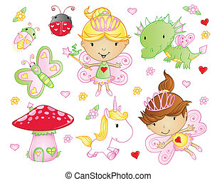 Fairy Princess Flowers animal set - Cute Fairy Princess...