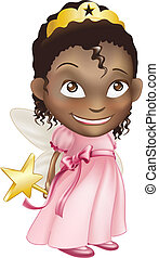 fairy princess girl - An illustration of a young black girl...